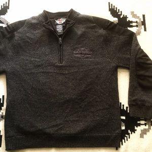 Rare Harley Davidson Wool Lined 1/2 Zip Sweater